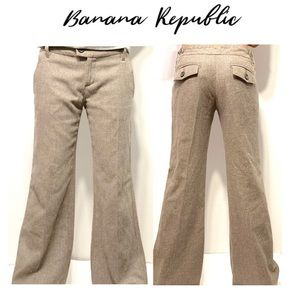 Banana Republic brown Wide Leg Wool Tweed Pants